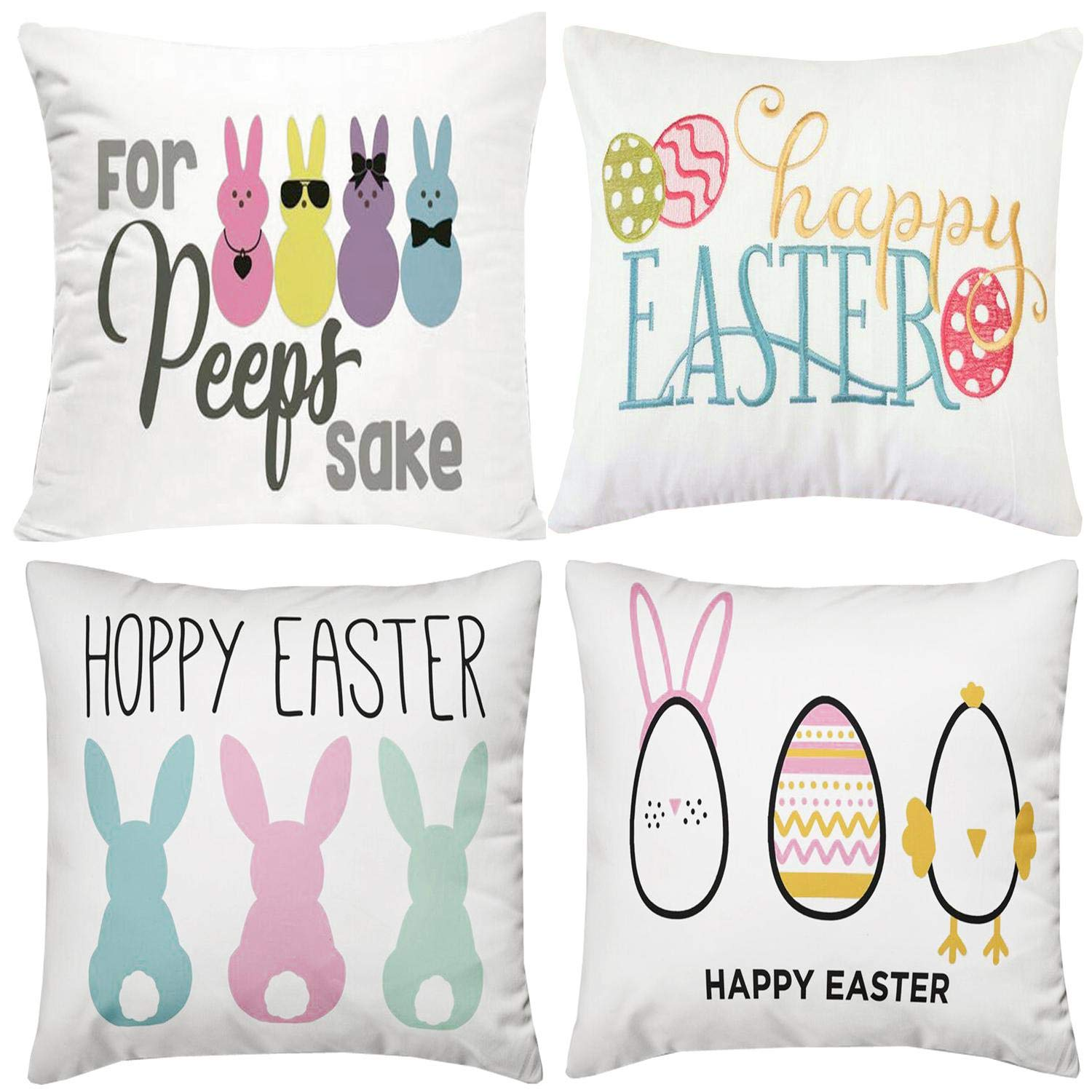 Buy Set Of 4 Happy Easter Day Throw Pillow Covers 18 X 18 Inch Munzong Cotton Linen Double Side Easter Peep Bunny Easter Egg Pillowcases Square Cushion Covers For Spring Holiday Decor