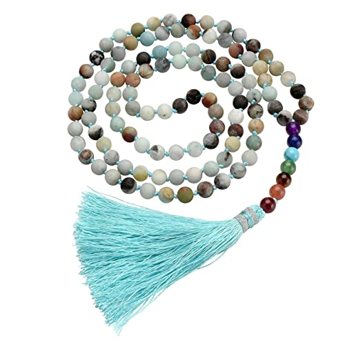 c4042bd8e4e41 Jovivi 8mm 7 Chakra Healing Crystal Mala 108 Multilayer Wrap Prayer Beads  Bracelet Healing Gemstones Necklace w/Tassel