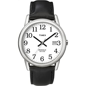 6991f7c03 Amazon.com: Timex Men's T2H281 Easy Reader Black Leather Strap Watch ...