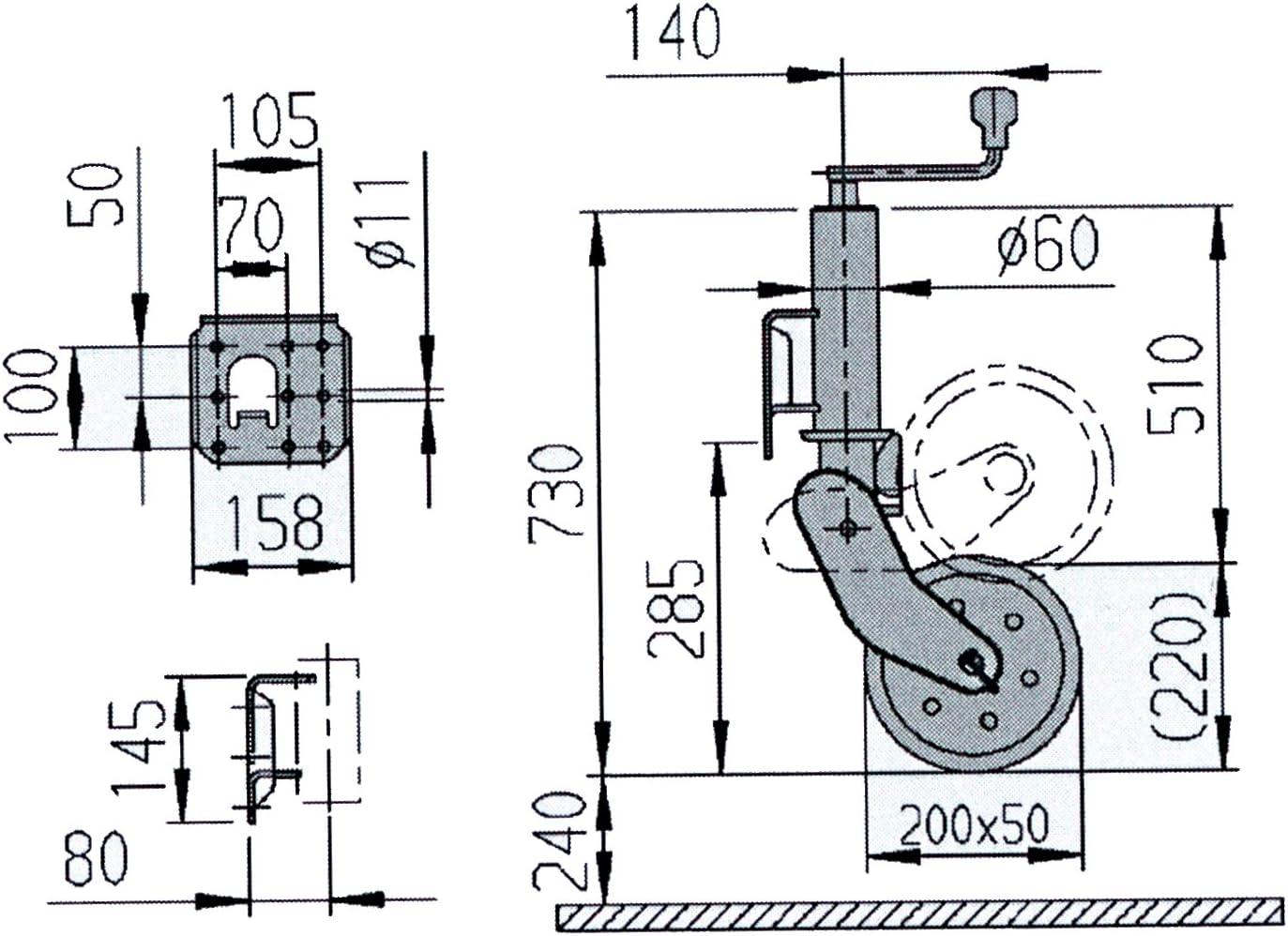 Rueda auxiliar autom/ática Al-ko 500/kg