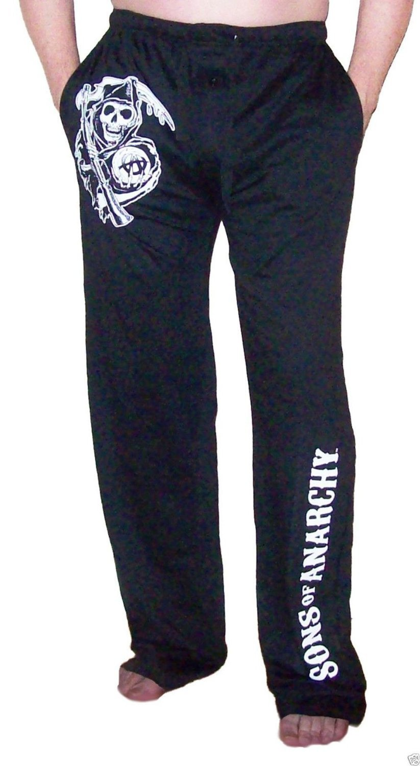 Sporticus Men's SOA Sons of Anarchy Pjs Pajamas Reaper Skull (Small)