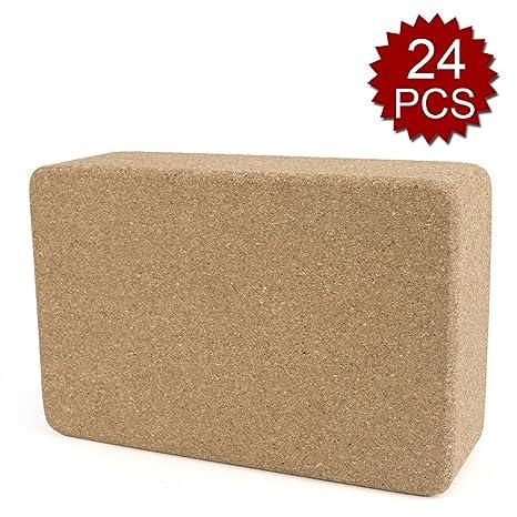 Amazon.com : GOGO 24 PCS Slip Resistant Cork Yoga Block for ...