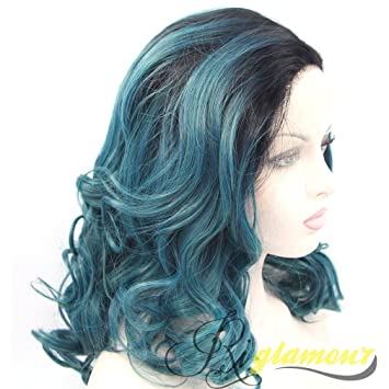 Amazon Com Riglamour Dark Blue Green Women Wigs Medium Length