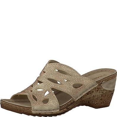 Marco Tozzi Damen Sandale platinum mit Keilabsatz