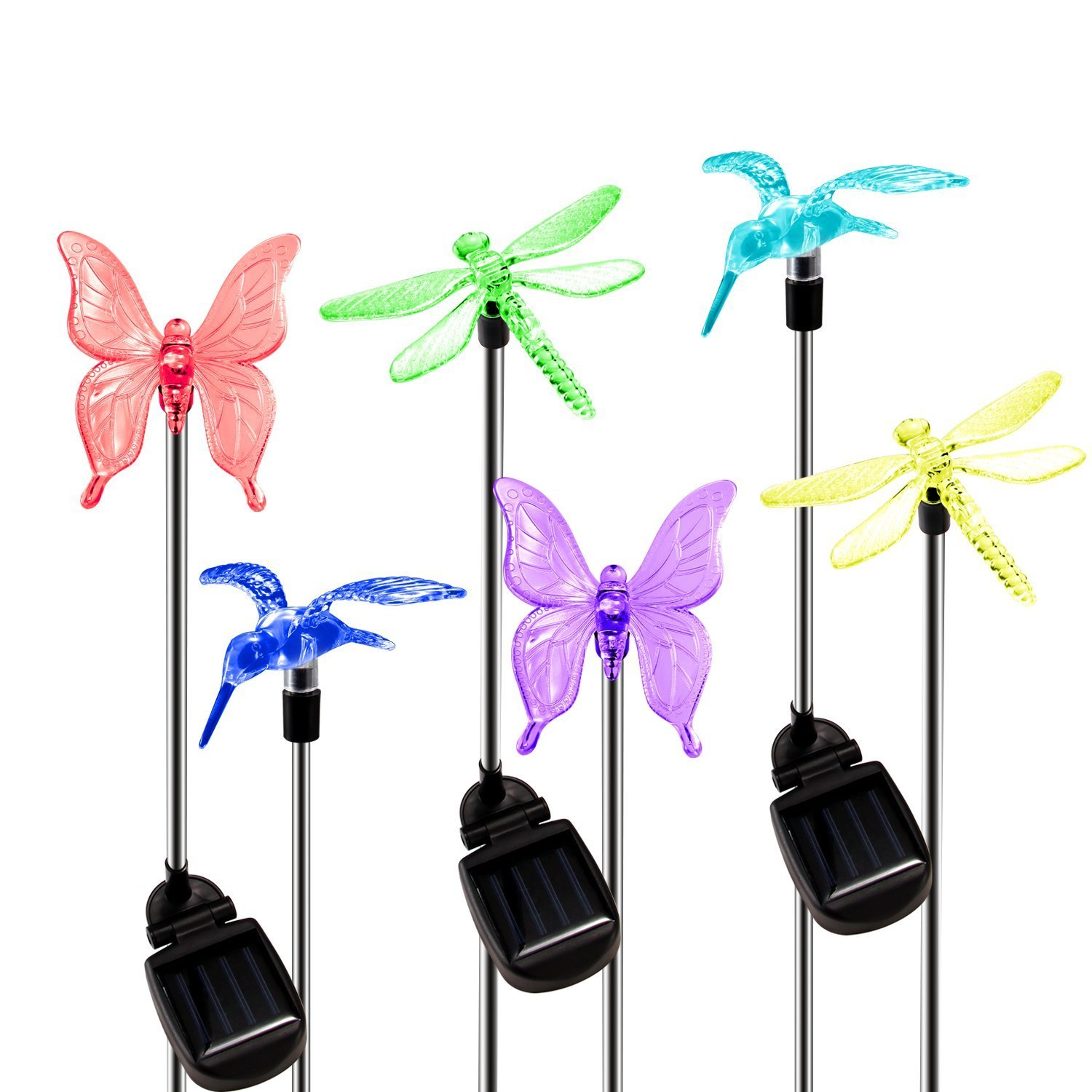Solar Garden Lights Outdoor, 6-pack OxyLED Figurine Stake Light, Color Changing Decorative Landscape Lighting LED Solar Powered Hummingbird Butterfly Dragonfly for Patio Lawn Yard Pathway, Auto ON/OFF