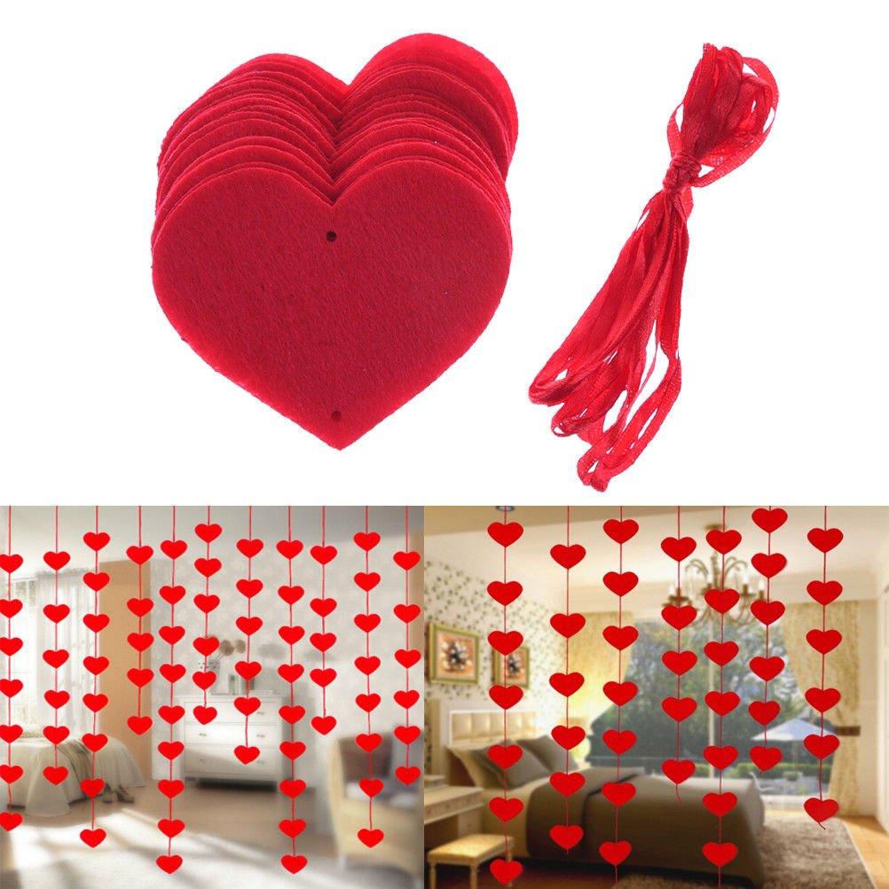 LUOEM 16pcs Día de San Valentín Decoración Garland Rojo Corazón Garland Amor Corazón Garland Banner para Boda Compromiso Día de San Valentín Fiesta de cumpleaños Decoración Suministro