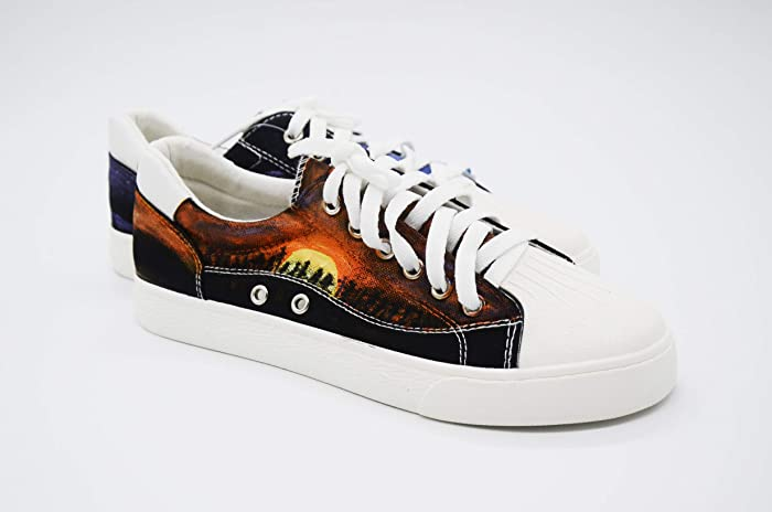 594706aa8b85d Amazon.com: Hand Painted Shoes Galaxy Sun Moon Cat Pattern-Women ...