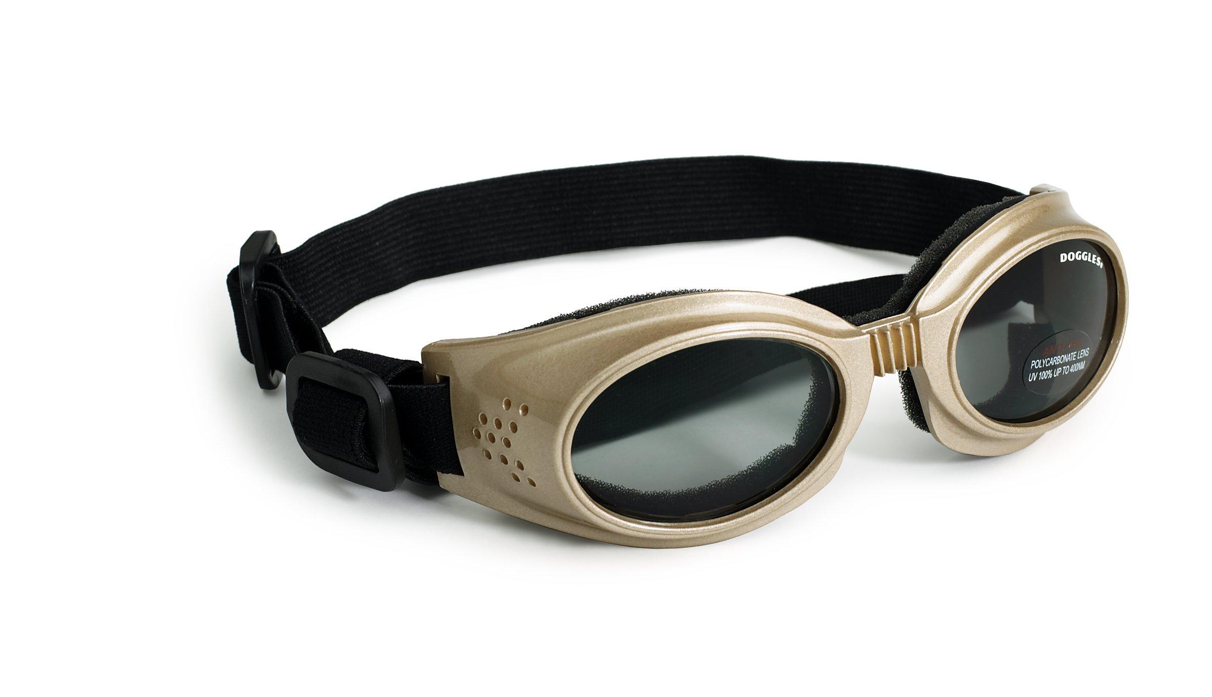 Doggles Originalz Small Frame Goggles for Dogs with Smoke Lens, Chrome