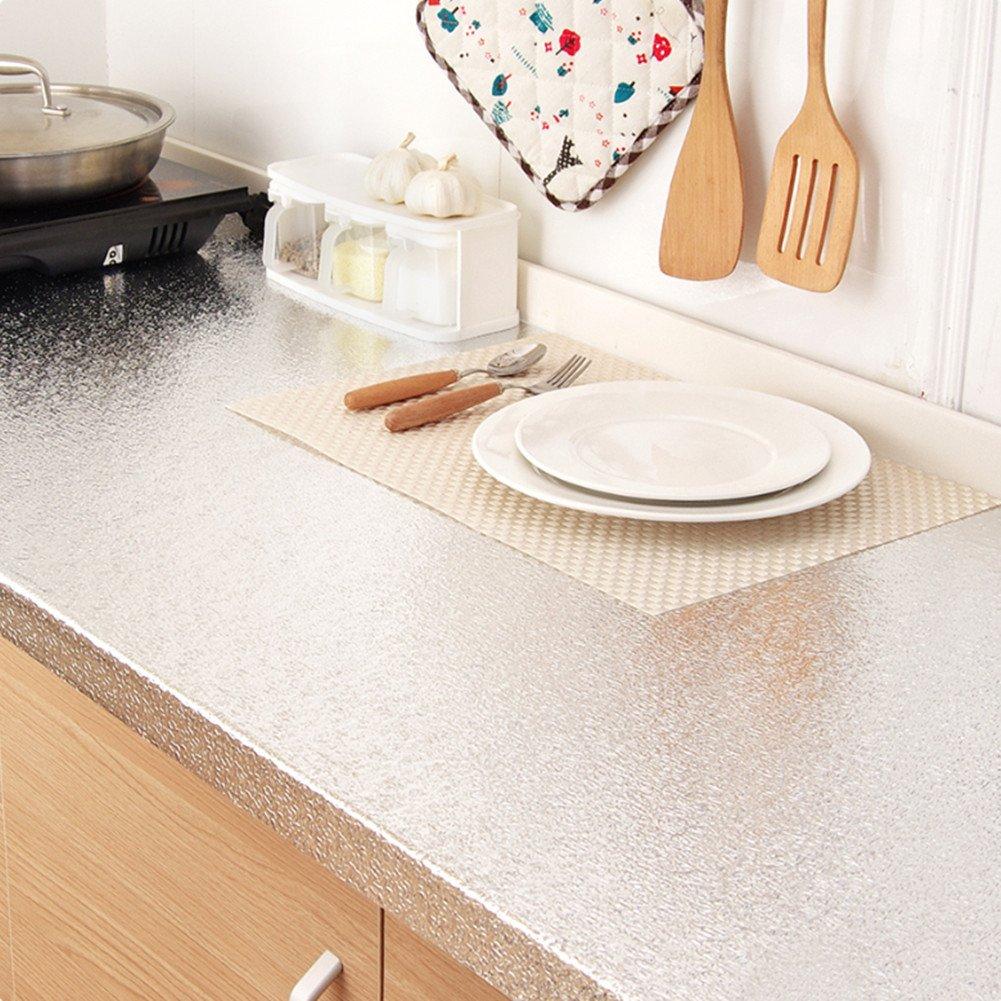 Bestevers Kitchen waterproof aluminum foil stickers Anti greasy Countertop DIY Peel Stick Wallpaper Decal,24''x78'' (Silver)