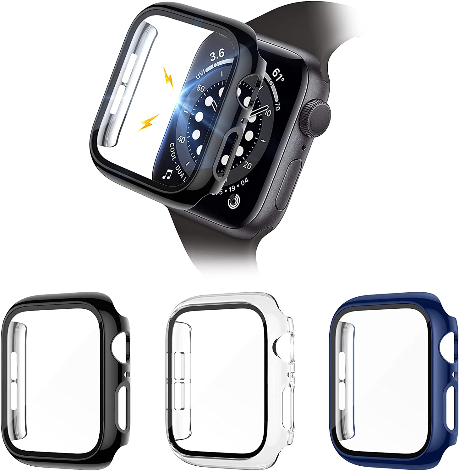 Liwin 3-Pack Tempered Glass Screen Protector Cases Compatible with Apple Watch SE/Series 6/5 / 4 40mm, HD Hard PC Protective Cover Compatible with iWatch Series SE / 6/5 / 4