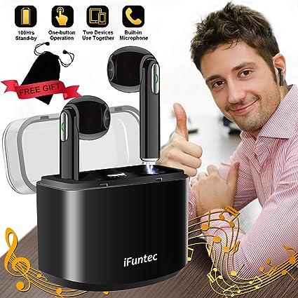 Écouteurs sans Fil, iFuntec Casque Bluetooth avec Mic Mini Intra Auriculaires Casque Écouteur avec Étui de Charge Réglable Écouteurs Audio Stéréo