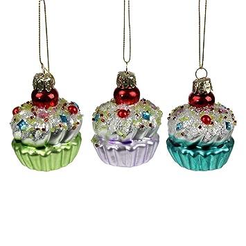 Muffin Tannenbaum.3x Kugeln Muffin Cupcake Glitter Weihnachtsschmuck Weihnachtsdeko