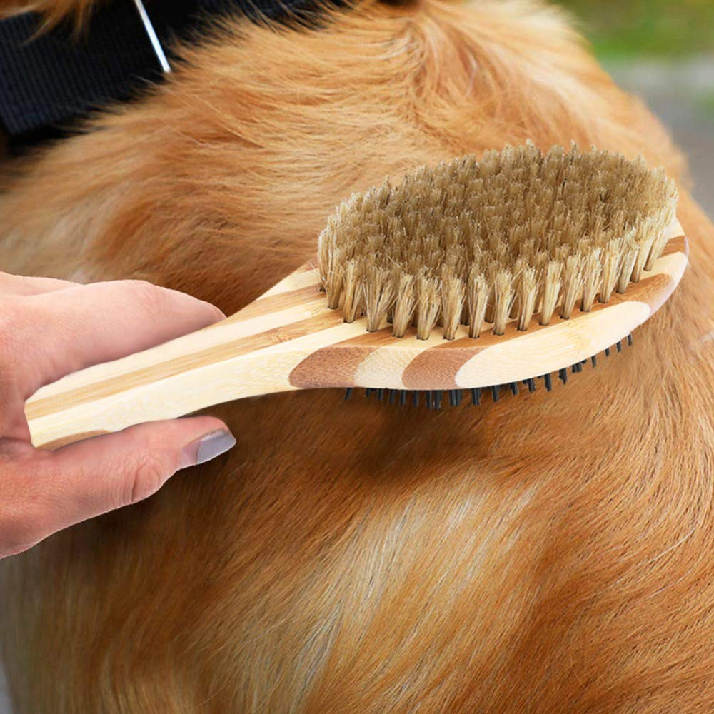 WLEJDDD Professional Pet Dog Fur Hair Comb Pets Double Sided Pin & Bristle Bamboo Brushes Dogs Cats Puppy Hair Clean Grooming Comb Brush Double Sides 23.2x6.7cm