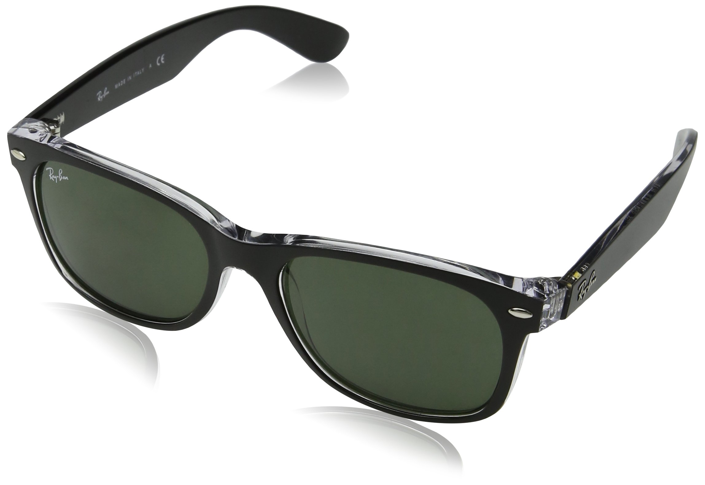 RAY-BAN RB2132 New Wayfarer Sunglasses, Black On Transparent/Green, 52 mm by RAY-BAN
