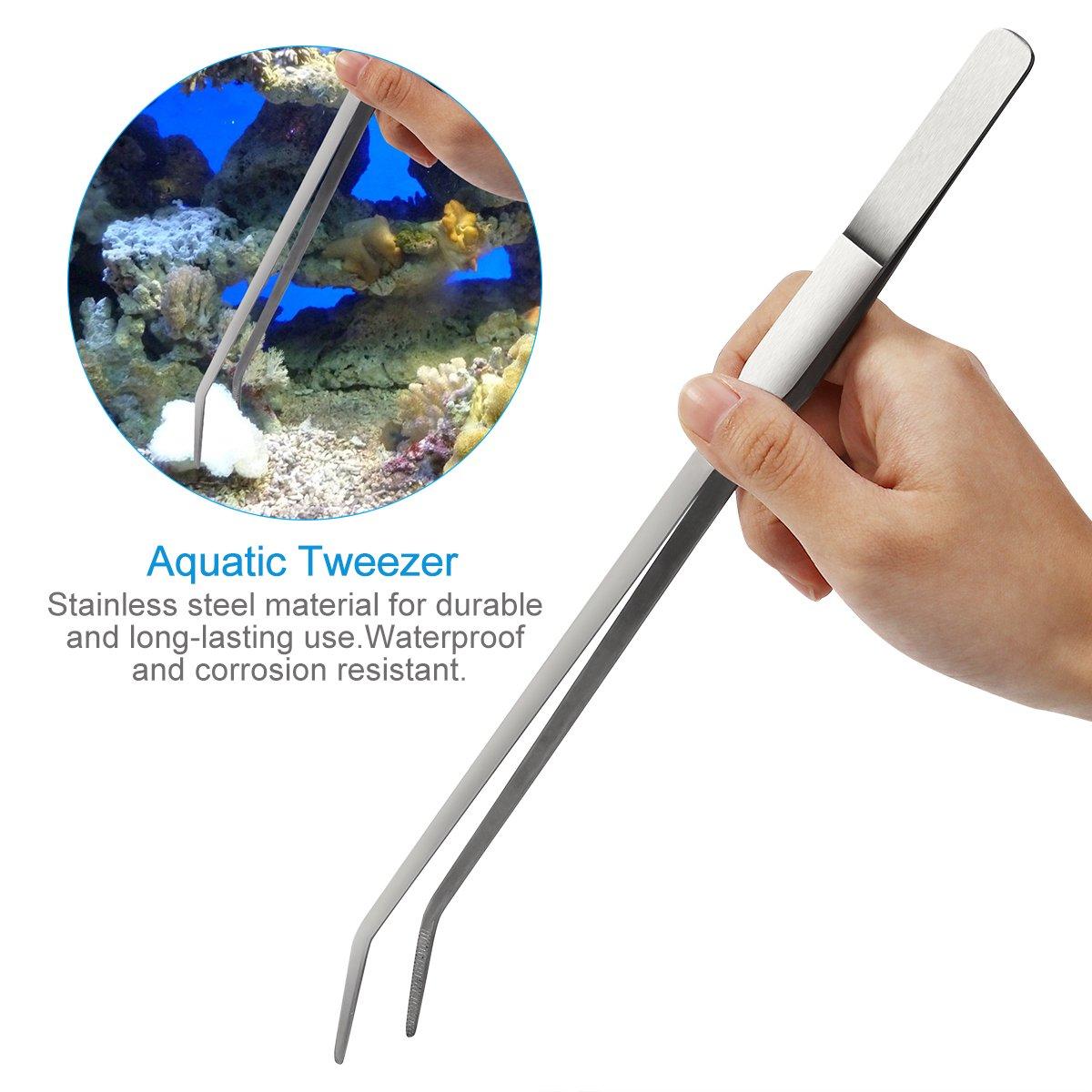 UEETEK Aquarium Aquascaping Kit 5 en 1 acero inoxidable acuario tanque planta acuática herramientas conjuntos pinzas tijera espátula: Amazon.es: Productos ...