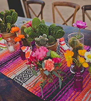 Del Mex (TM) Traditional Falsa Mexican Blanket Table Runner (Pink/Orange)