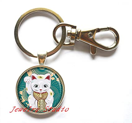 Amazon.com  Teal Maneki Neko Keychain 6f1491669a3c