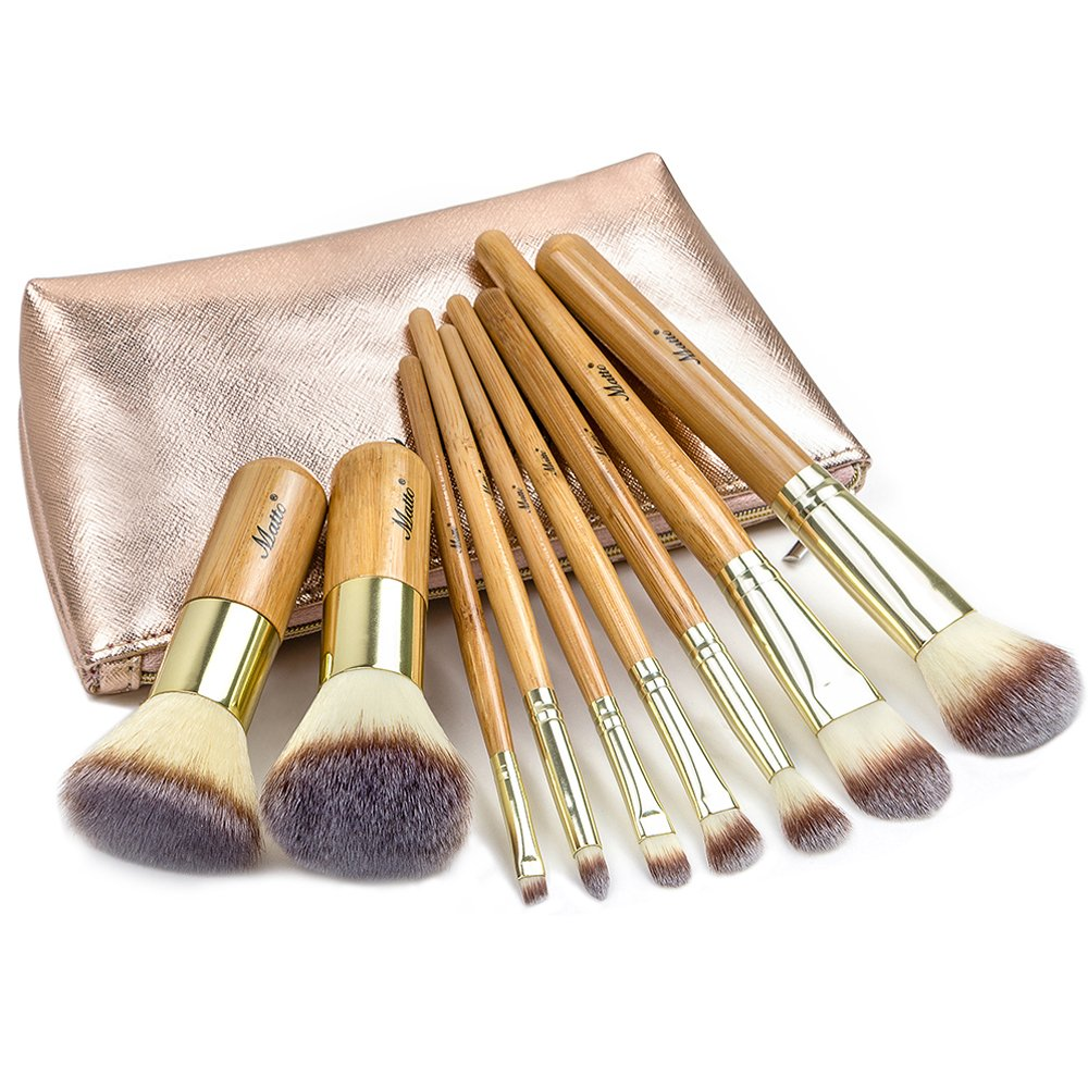 Matto Make-up Brushes 9-Piece Bamboo Makeup Brush Set with Make Up Brushes Travel Cosmetics Bag MZ-F9