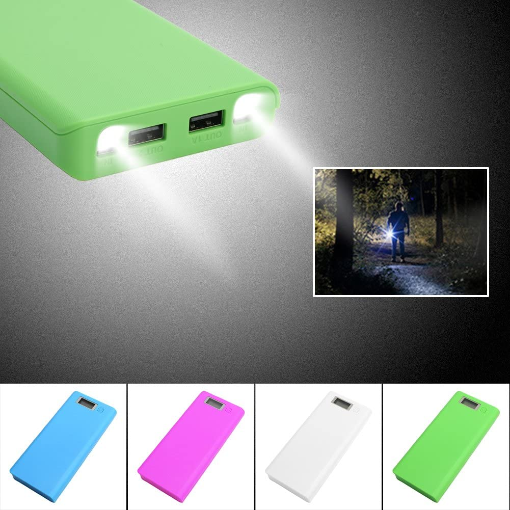 Mimgo Store 30000mAh USB 2 Port Power Bank Case 8x18650 Battery Charger Box DIY for Phone White