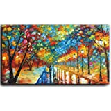 Tyed Art- 24X48 Inch Oil Paintings on Canvas Art 100% Hand-Painted Contemporary Artwork Abstract Artwork Night Rainy Street W