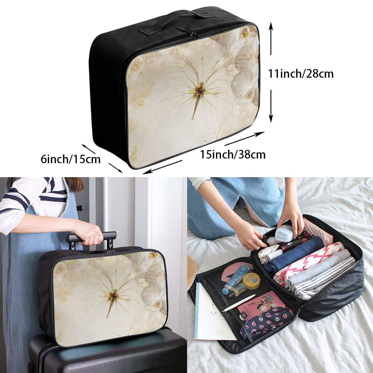 Canvas Travel Weekender Bag,Fashion Custom Lightweight Large Capacity Portable Luggage Bag,Suitcase Trolley Bag ADGAI Lovely Dragonfly 4