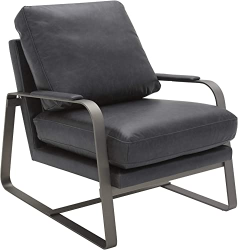 Amazon Brand Rivet Summit Mid-Century Modern Leather Accent Chair