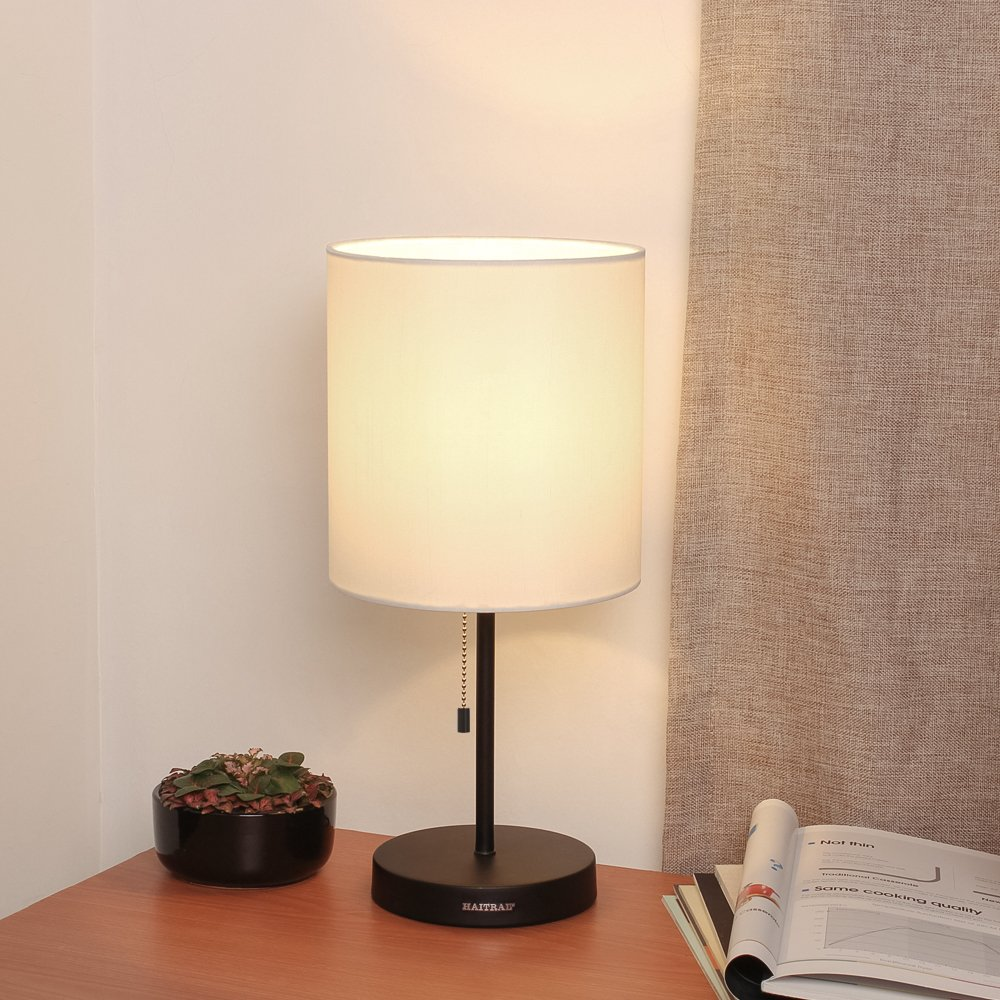 HAITRAL Table Lamp Metal base Fabric Lamp Shade Night light for Living Room, Bedroom, College Dorm by HAITRAL (Image #2)