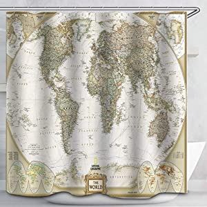 World Map Shower Custom Fabric Vintage Look Style Countries Globe Curtains Waterproof Colorful Cloth Fabric Durable Shower Curtain Bathroom Decor Set 12 White Plastic Hooks. 72 x 72 inch