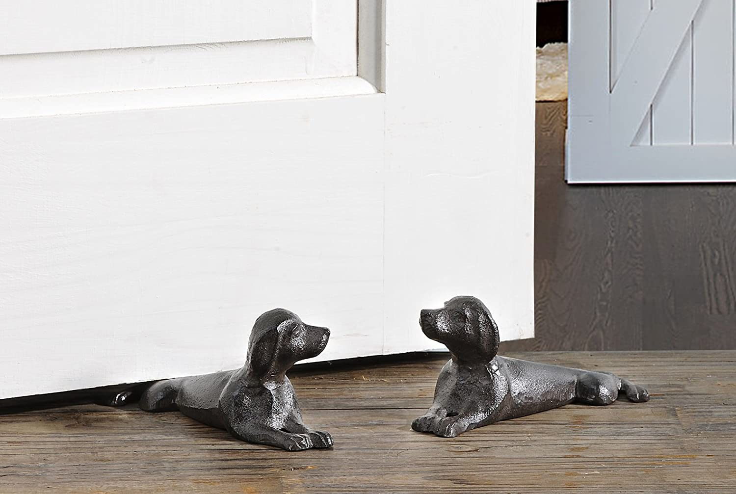 2 Pc Set of Cast Iron Dog Shaped Door Stoppers