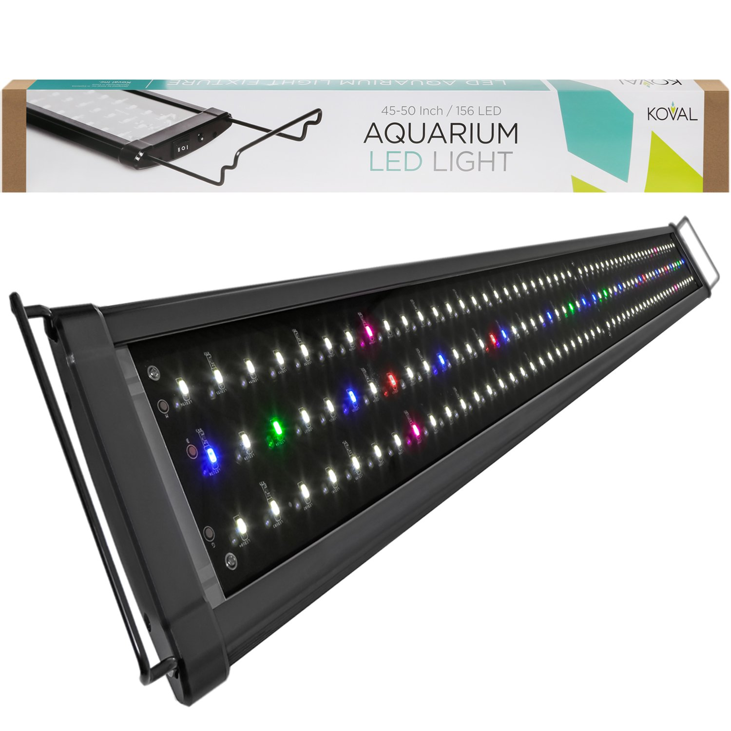 Koval 156 LED Aquarium Light Hood with Extendable Brackets, 45-Inch to 50-Inch by Koval