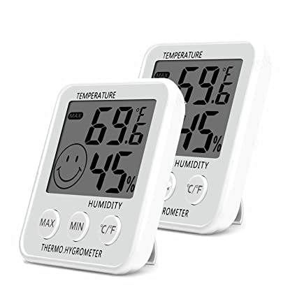 SoeKoa Digital Thermometer Indoor Hygrometer Humidity Meter Room Temperature Monitor Large LCD Display Max/Min Records for Home Car Office White (2 ...