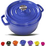 Balichun Cast Iron Dutch Oven With 360 Degree Water-Cycling System, Dual Handles (5.8 Qt, Jazz Blue)