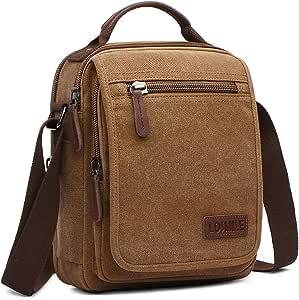 LOSMILE Bolsos Bandolera Hombre Pequeñas Bolsos de mano Bolsa de Hombro Messenger Bag Bolsa de Lona para iPad mini Escolares Sport Casual(Caqui)