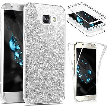 JAWSEU Funda 360 Grados Compatible con Samsung Galaxy A3 2016, Brillante Brillo Bling Glitter Transparente Integral Delantera y Trasera Suave TPU ...