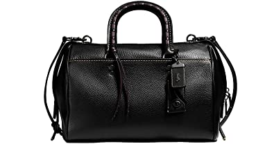 9456266fe95 Amazon.com  COACH Glovetanned Pebbled Leather Rogue Satchel with  Embellished Handle in Antique Nickel Black 58118  Shoes