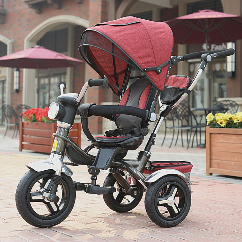 QXMEI Children's Tricycle Bicycle Baby Stroller 1 to 4 Years Old Stroller with Awning,C