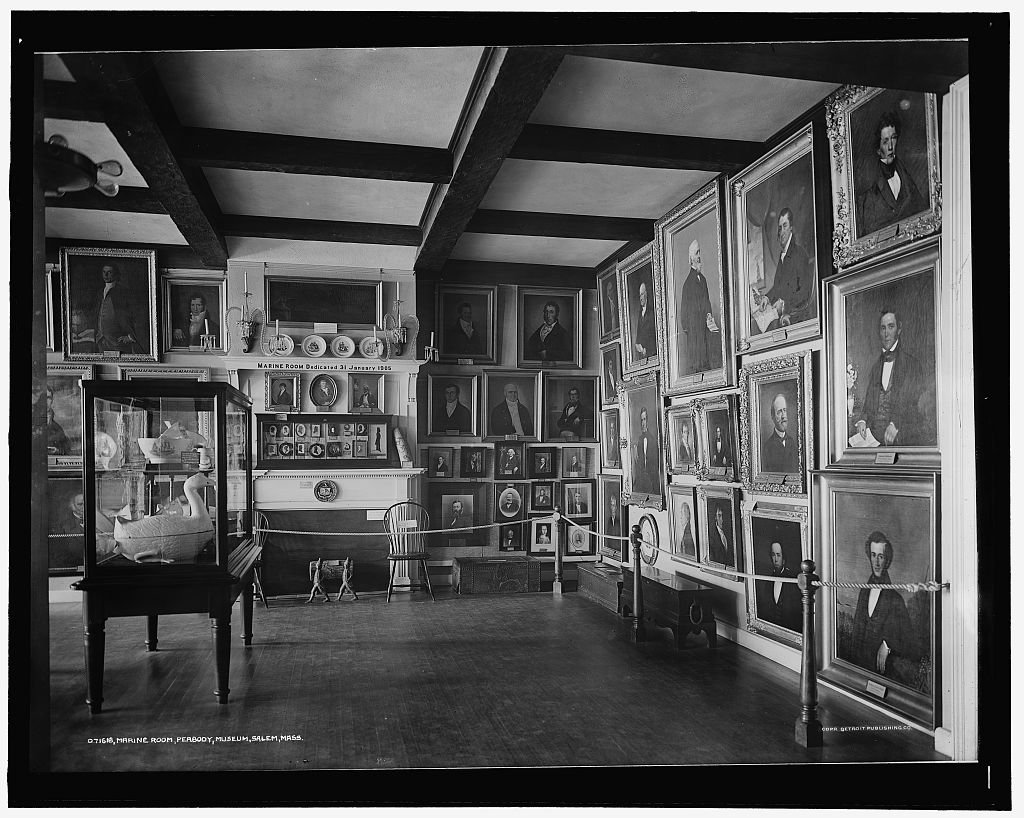 Vintography 8 x 10 Reprinted Old Photo Marine Room East India Hall Peabody Museum Salem Mass. 1913 Detriot Publishing co. 51a