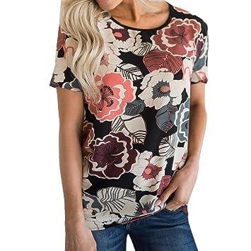 LILICAT® Camisetas Verano de mujer, 2018 Moda Casual Camiseta estampada floral Manga corta con