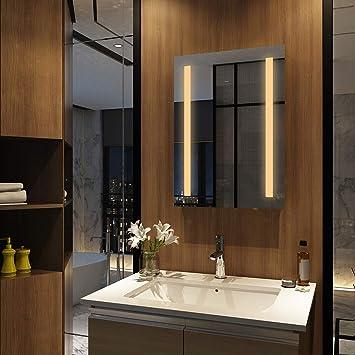 EMKE Wandspiegel Badezimmerspiegel LED Badspiegel mit Beleuchtung 50x70cm  Warmweiß 3000K, Spiegel mit Beleuchtung Lichtspiegel durch Wand-Schalter
