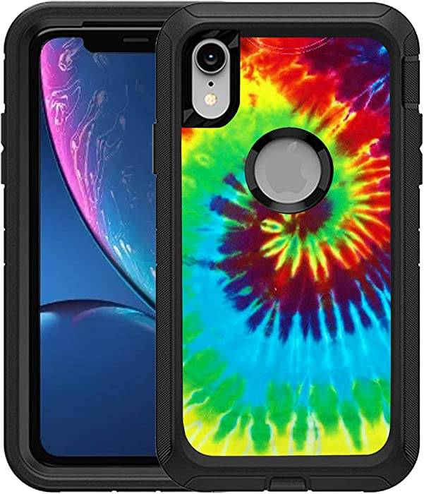 TeleSkins Protective Designer Vinyl Skin Decals/Stickers Compatible with Otterbox Defender iPhone Xr Case -Tie Dye Design Patterns - only Skins and not Case