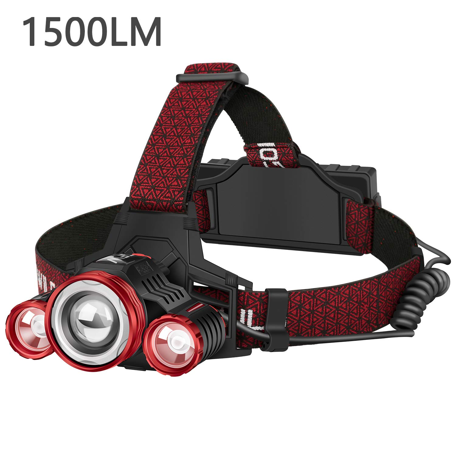 Rechargeable Headlamp, GOFORWILD Reliable 1500 Lumen LED Headlamp Flashlight, With 2X2200mAh 18650 Batteries,Battery Level Display, Safety Light, 4 Light Modes, Head Lights for Camping,Hiking, Outdoor