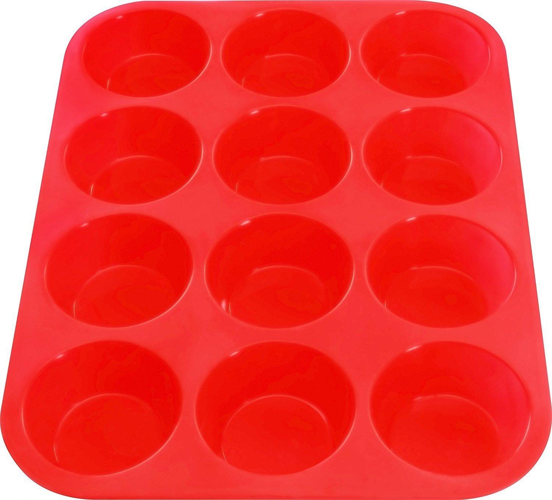 Silicone Muffin Pan & Silicone Baking Pan, Nonstick, Dishwasher, Microwave Safe, Red Bakeware (6) NANAN