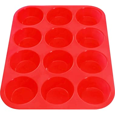 12 Cup Silicone Muffin Pan & Silicone Baking Pan, Nonstick, Dishwasher, Microwave Safe, Red Bakeware (12)