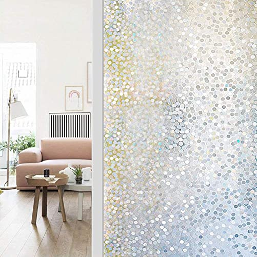 WochiTV Privacy Window Film, 3D Pebble Glass Film No Glue, Window Privacy Film UV Protection Heat Control Reusable, Perfectly Decorative Home Kitchen Bedroom – 35.4 inch x 32.8 Feet