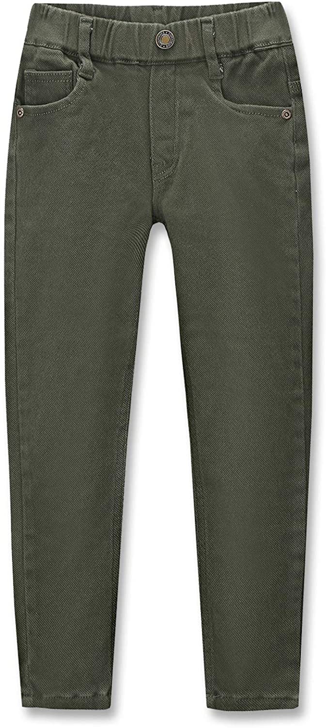 CUNYI Boys' Pull-On Cotton Pants Slim Fit Skinny Pants with Elastic Waistband