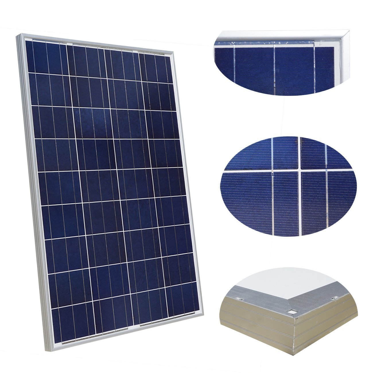 100 Watt Solar Panel Polycrystalline Photovoltaic ZODORE PV Module 90mm cable with MC4 12V Battery Charging for RV Boat Caravan, camper or yacht, for off-grid / backup solar power systems 100 watt by ZODORE