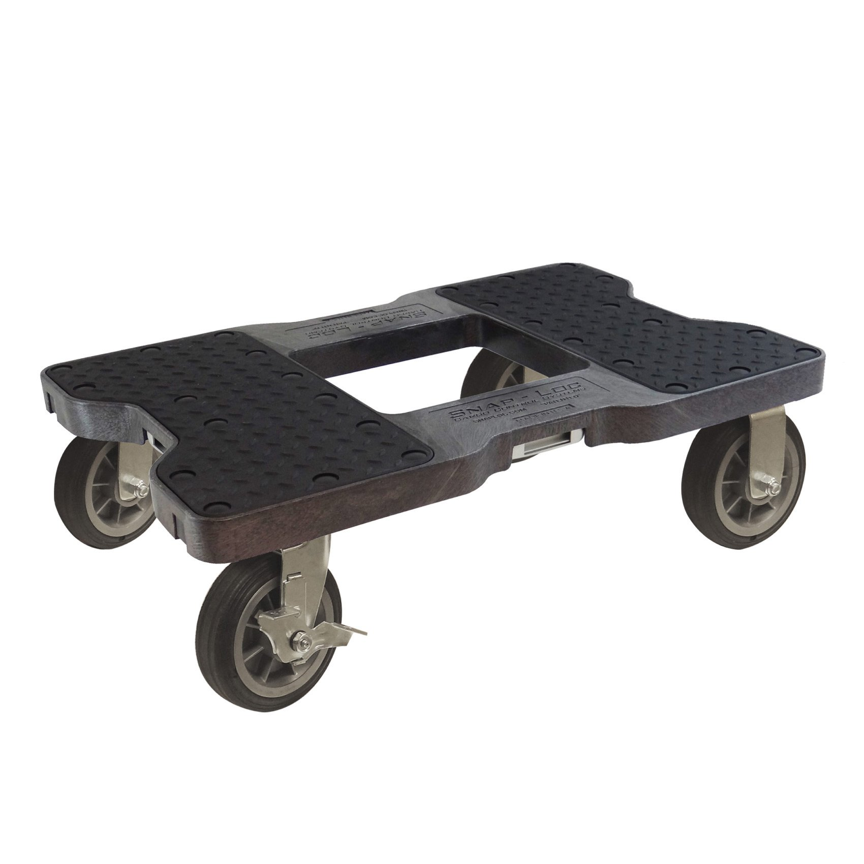SNAP-LOC ALL-TERRAIN DOLLY BLACK (USA!) with 1500 lb Capacity, Steel Frame, 6 inch Casters and optional E-Strap Attachment