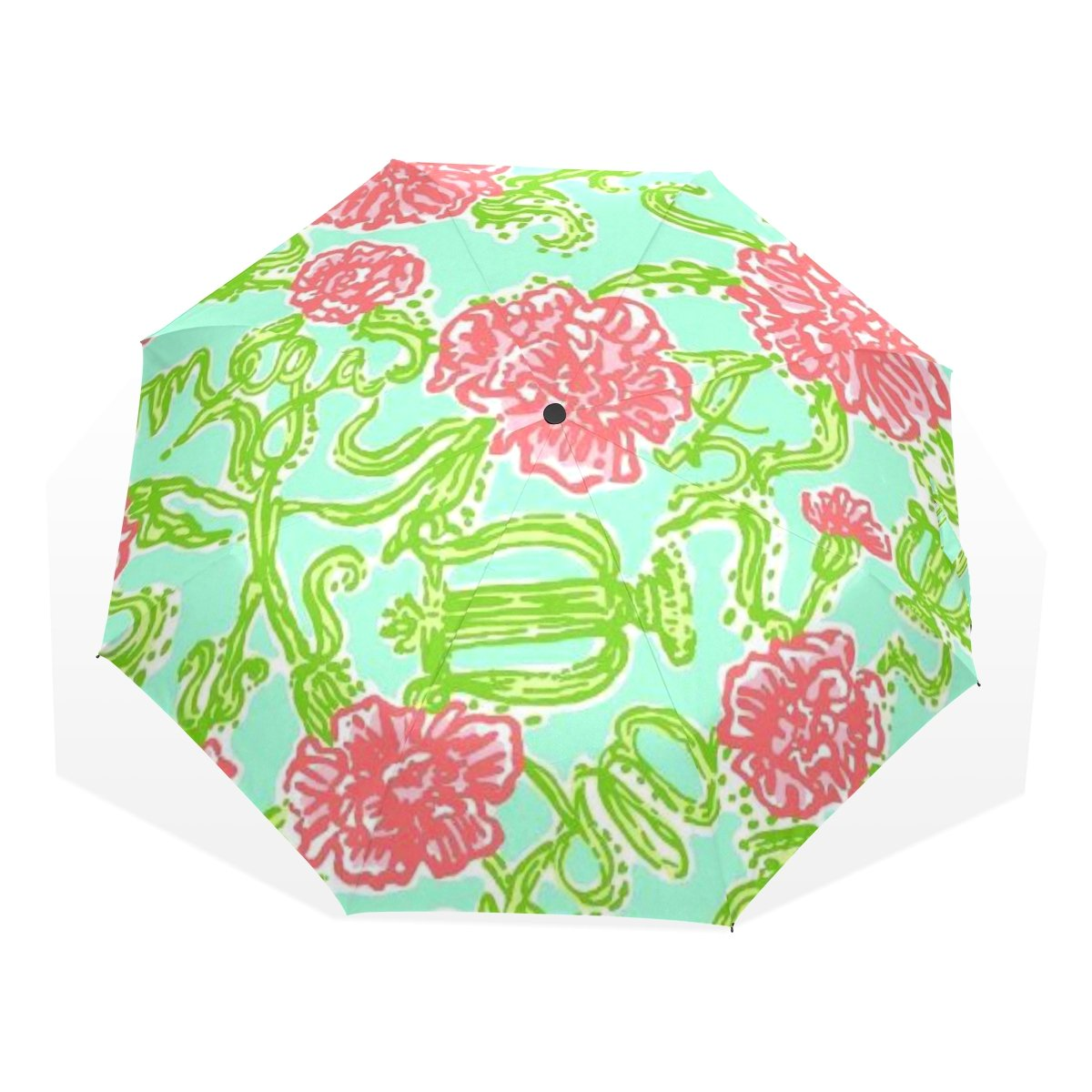 baihuishop防風ゴルフ傘、コンパクトで旅行for Easy Carryingスポーツ雨傘 – 強力なフレーム壊れない花葉パターン   B01K6VO3U0