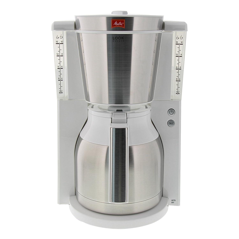 Melitta Cafetera de filtro con jarra isotérmica, Selector de aroma, Look Therm DeLuxe, Blanco/Acero inoxidable mate, 1011-13: Amazon.es: Hogar