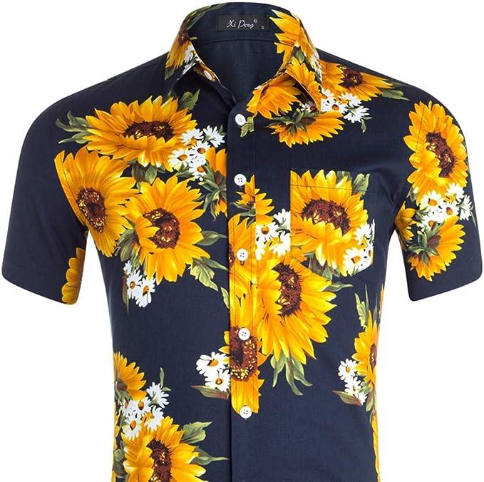 Camisa Hawaiana Informal de Manga Corta para Hombre de ...